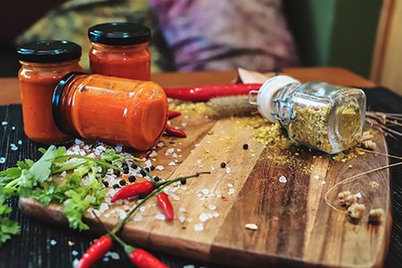 The hot one chilli sauce and Seedy dukkah